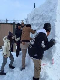 北見冬まつり 雪像作成(1日目) (8)